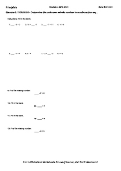 Worksheet for 1.OA.8-2.0 - Determine the unknown whole number in a subtraction e