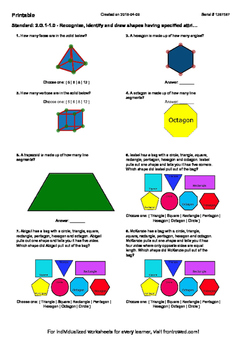 Worksheet for 2.G.1-1.0 - Recognize, identify and draw shapes having specified a