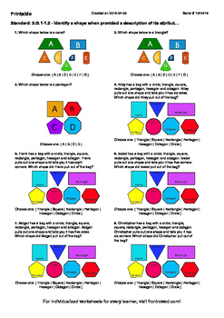 Worksheet for 2.G.1-1.2 - Identify a shape when provided a