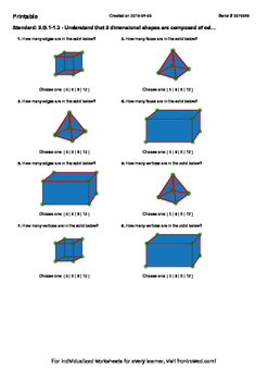 Worksheet for 2.G.1-1.3 - Understand that 3 dimensional shapes are composed of