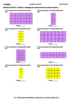 Worksheet for 2.G.2-1.0 - Partition a rectangle into rows and columns of same si
