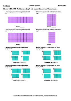 Worksheet for 2.G.2-1.3 - Partition a rectangle into rows and columns of the sam