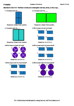 Worksheet for 2.G.3-1.0 - Partition circles and rectangles into two, three, or f