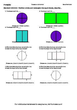Worksheet for 2.G.3-2.2 - Partition circles and rectangles into equal shares, de