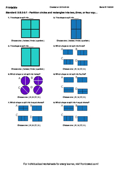 Worksheet for 2.G.3-3.1 - Partition circles and rectangles into two, three, or f