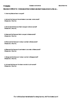Worksheet for 2.MD.2-1.6 - Understand that multiple standard measurement units