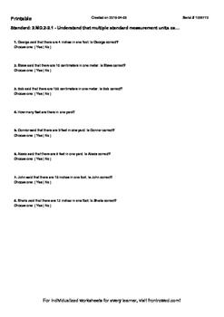 Worksheet for 2.MD.2-2.1 - Understand that multiple standard measurement units