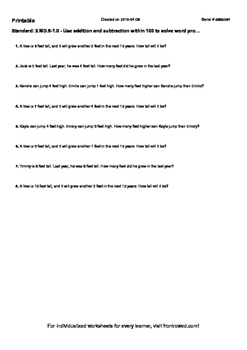 Worksheet for 2.MD.5-1.0 - Use addition and subtraction within 100 to solve word