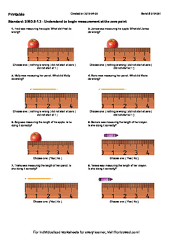 Worksheet for 2.MD.5-1.3 - Understand to begin measurement at the zero point