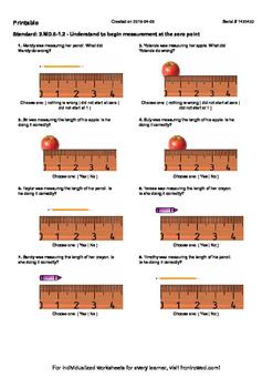 Worksheet for 2.MD.6-1.2 - Understand to begin measurement