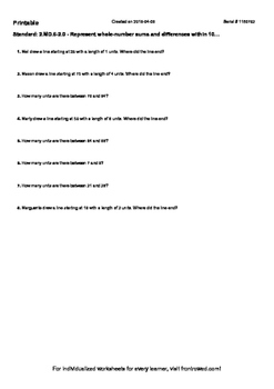 Worksheet for 2.MD.6-2.0 - Represent whole-number sums and differences within 1