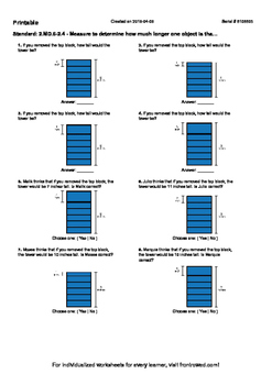 Worksheet for 2.MD.6-2.4 - Measure to determine how much longer one object is th