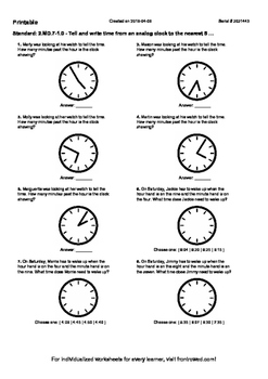 Worksheet for 2.MD.7-1.0 - Tell and write time from an analog clock to the neare