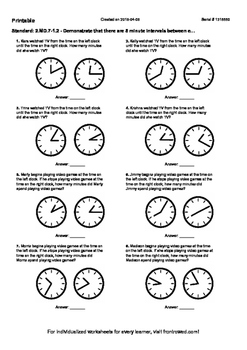 Worksheet for 2.MD.7-1.2 - Demonstrate that there are 5 minute intervals between