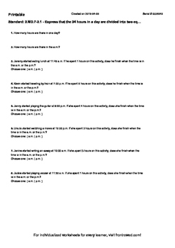 Worksheet for 2.MD.7-3.1 - Express that the 24 hours in a day are divided into t