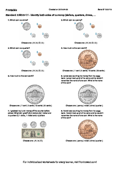 Worksheet for 2.MD.8-1.1 - Identify both sides of currency (dollars, quarters, d