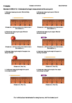 Worksheet for 2.MD.9-1.2 - Understand to begin measurement at the zero point