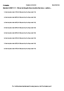 Worksheet for 2.NBT.1-1.1 - 100 can be thought of as a bundle of ten tens — call