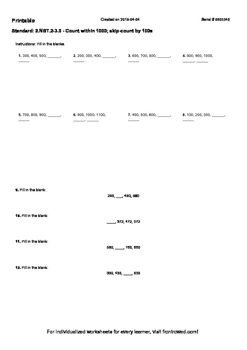 Worksheet for 2.NBT.2-3.0 - Count within 1000; skip-count by 100s