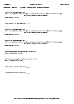 Worksheet for 2.NBT.3-1.1 - Express a number using base-te