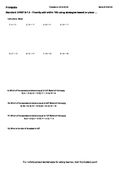 Worksheet for 2.NBT.5-1.0 - Fluently add within 100 using strategies based on pl