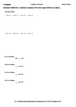 Worksheet for 2.NBT.5-2.1 - Subtract multiples of 10 in the range 10-90 from mul