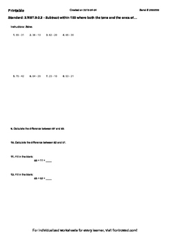 Worksheet for 2.NBT.5-2.2 - Subtract within 100 where both the tens and the ones