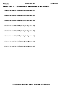 Worksheet for 2.NBT.7-1.2 - 100 can be thought of as a bundle of ten tens — call