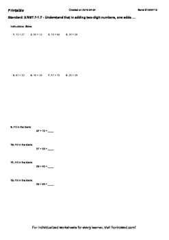 Worksheet for 2.NBT.7-1.7 - Understand that in adding two-digit numbers, one ad