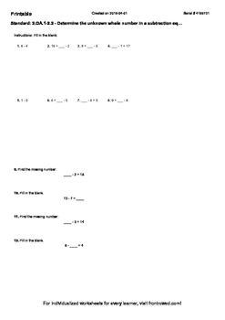 Worksheet for 2.OA.1-2.2 - Determine the unknown whole number in a subtraction e