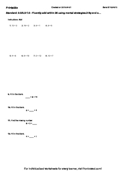 Worksheet for 2.OA.2-1.0 - Fluently add within 20 using mental strategies.2 By e