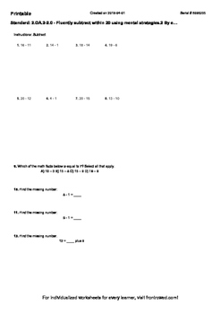 Worksheet for 2.OA.2-2.0 - Fluently subtract within 20 using mental strategies.2