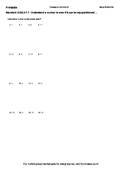 Worksheet for 2.OA.3-1.1 - Understand a number is even if it can be equipartitio