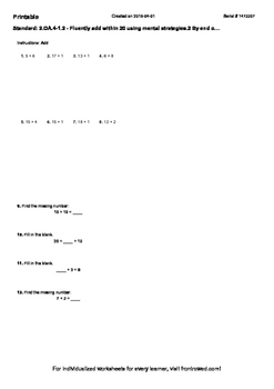 Worksheet for 2.OA.4-1.2 - Fluently add within 20 using mental strategies.2 By e