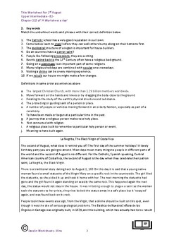 Worksheet for 2nd August The Black Virgin of Costa Rica