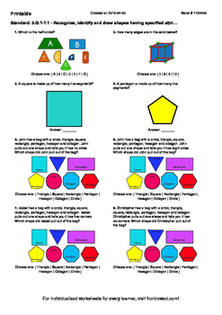 Worksheet for 3.G.1-1.1 - Recognize, identify and draw shapes having specified a