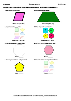 Worksheet for 3.G.1-1.2 - Define quadrilateral by comparin