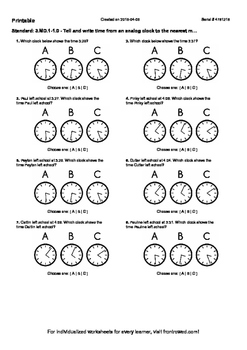 Worksheet for 3.MD.1-1.0 - Tell and write time from an analog clock to the near