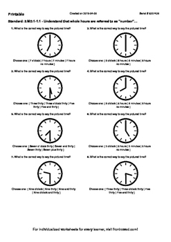 Worksheet for 3.MD.1-1.1 - Understand that whole hours are