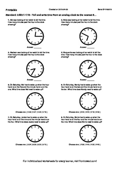 Worksheet for 3.MD.1-1.10 - Tell and write time from an analog clock to the near