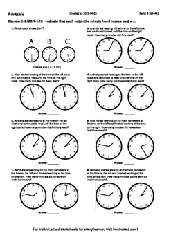 Worksheet for 3.MD.1-1.12 - Indicate that each notch the minute hand moves