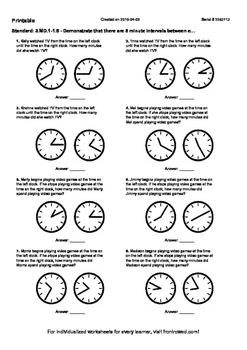 Worksheet for 3.MD.1-1.5 - Demonstrate that there are 5 minute intervals between