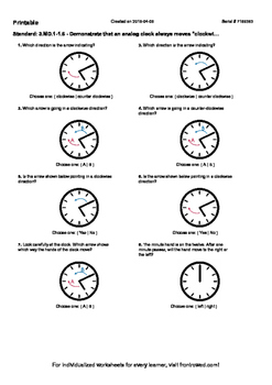 Worksheet for 3.MD.1-1.6 - Demonstrate that an analog clock always moves clockwi