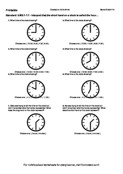Worksheet for 3.MD.1-1.7 - Interpret that the short hand on a clock is called th