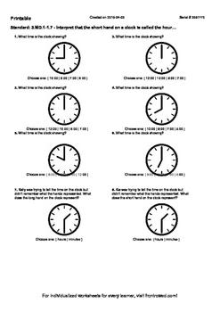 Worksheet for 3.MD.1-1.7 - Interpret that the short hand o