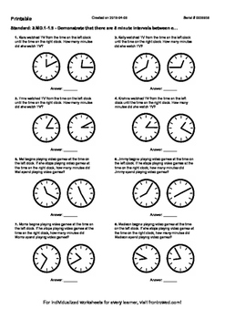 Worksheet for 3.MD.1-1.9 - Demonstrate that there are 5 minute intervals between