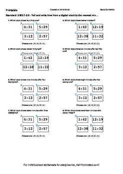 Worksheet for 3.MD.1-2.0 - Tell and write time from a digi