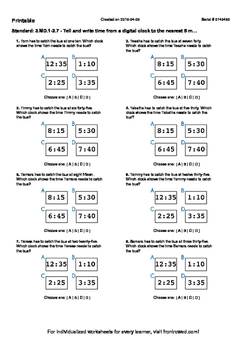 Worksheet for 3.MD.1-2.7 - Tell and write time from a digital clock to the neare
