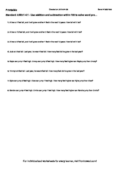 Worksheet for 3.MD.1-4.1 - Use addition and subtraction wi