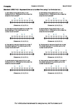 Worksheet for 3.MD.1-4.2 - Represent time on a number line using 1 or 5 minute i
